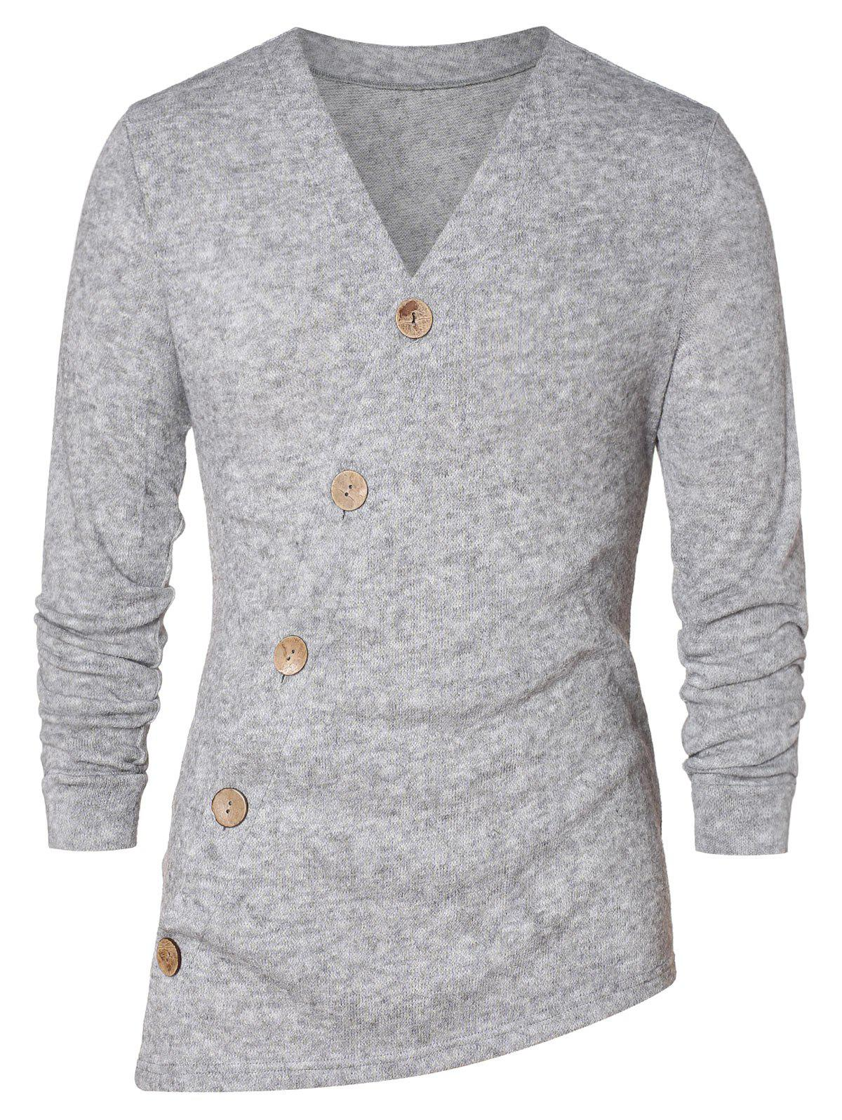 Asymmetric Button Up Solid Cardigan - GRAY CLOUD 2XL