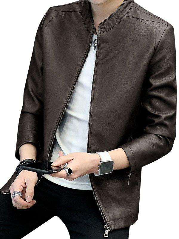 Stand Collar Zipper Faux Leather Jacket - COFFEE XS