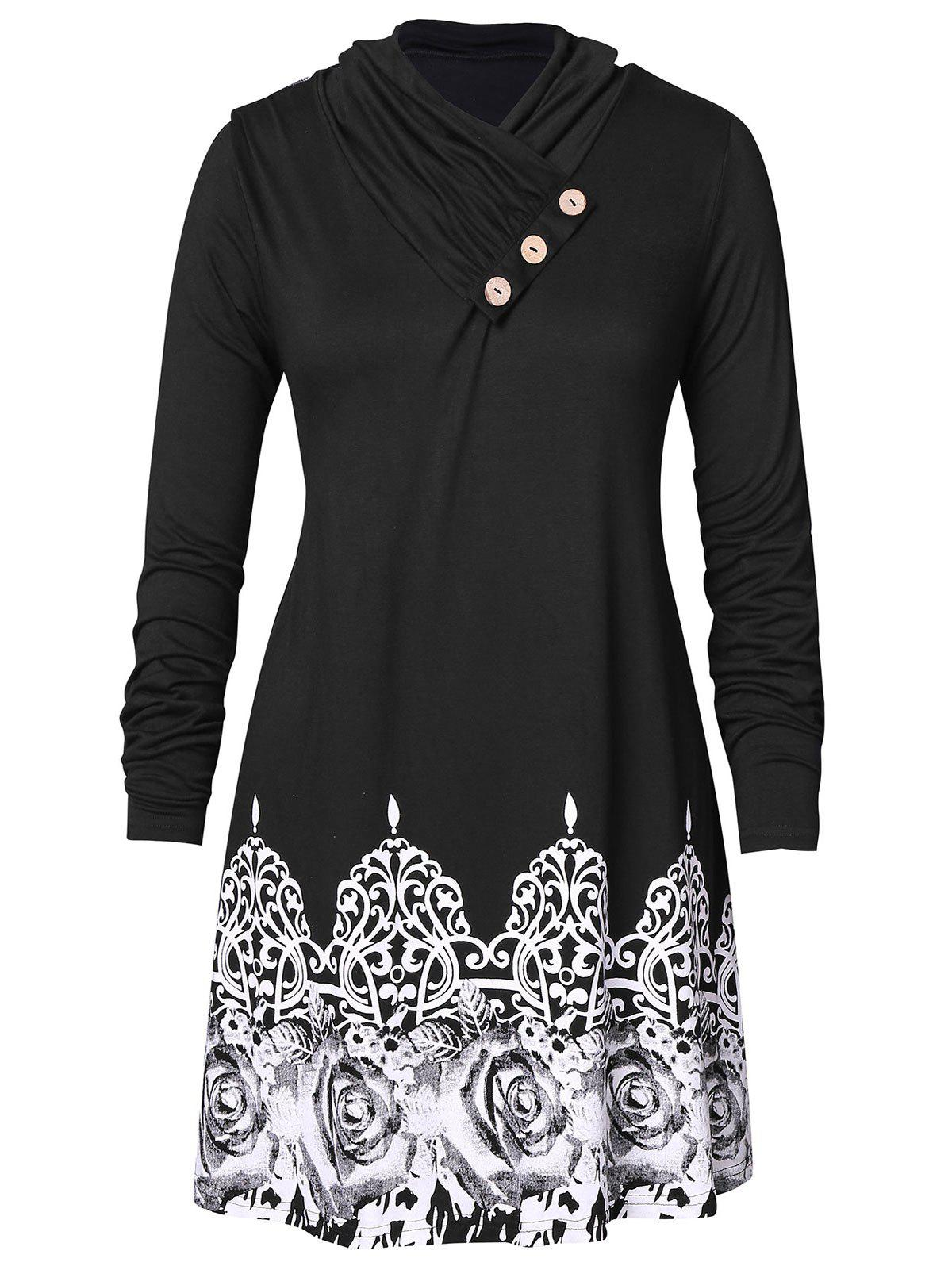 Plus Size Tribal Print Long Tunic T-shirt
