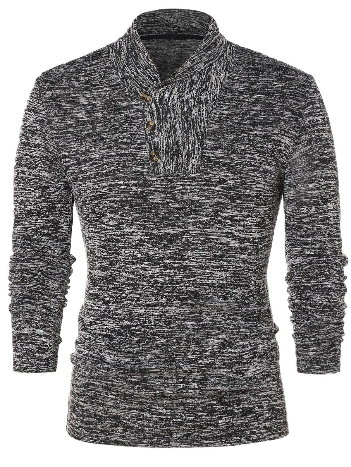 Shawl Collar Space Collar Pullover Sweater - GRAY CLOUD L