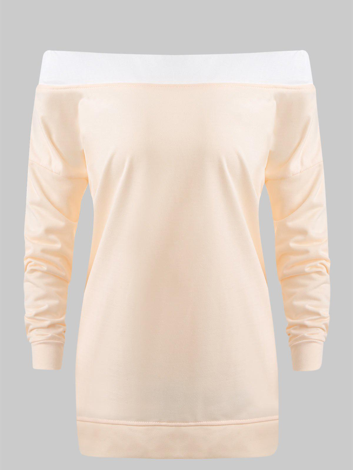 Off Shoulder Tunic Sweatshirt - DEEP PEACH M