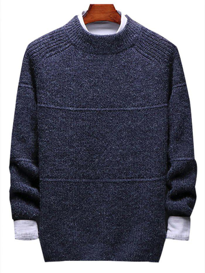 Solid Stripe Pullover Knit Sweater - DEEP BLUE XS