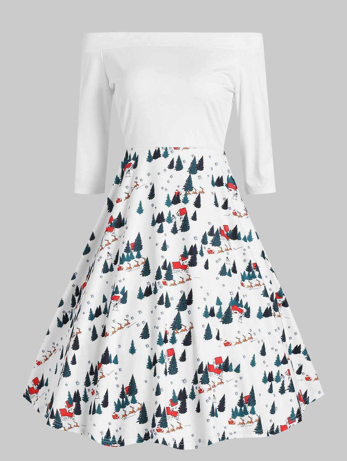 Christmas Print Off The Shoulder Dress - WHITE S