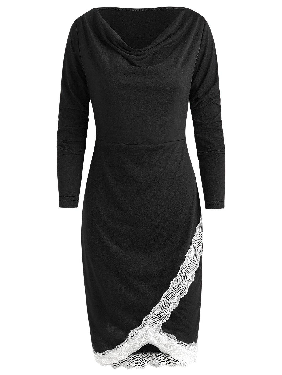 Lace Trim Sheath Dress - BLACK XL
