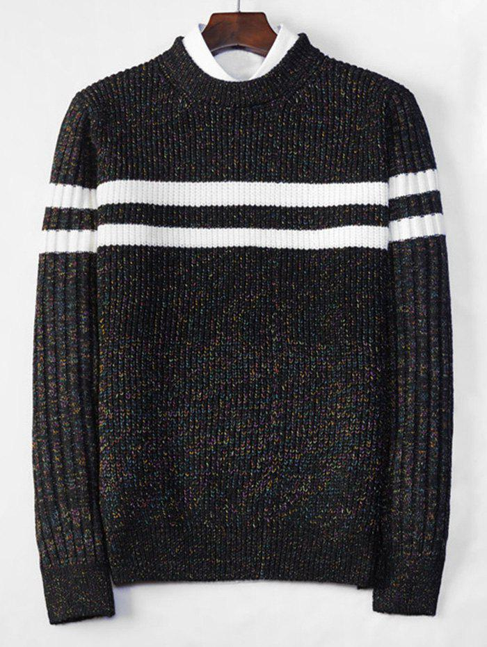 Cross Stripe Contrast Color Pullover Knit Sweater - BLACK XS