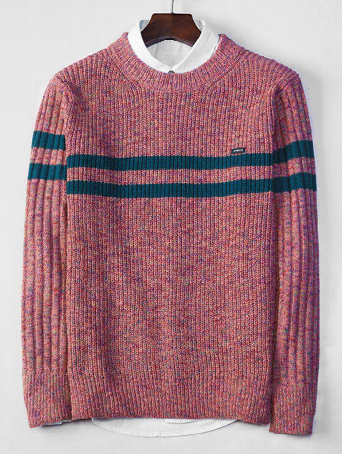 Cross Stripe Contrast Color Pullover Knit Sweater - BLUSH RED XS