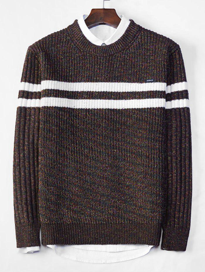 Cross Stripe Contrast Color Pullover Knit Sweater - COFFEE S