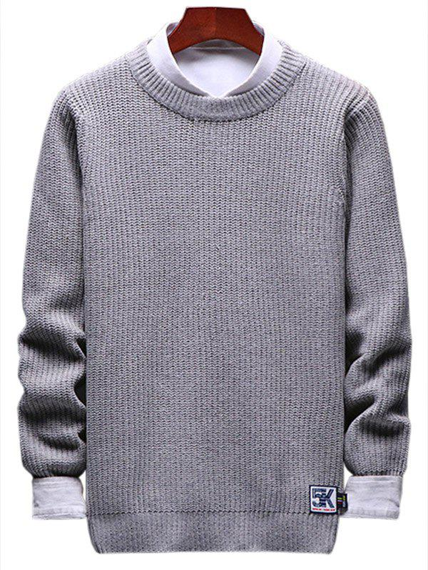 Solid Crewneck Patch Detail Pullover Knit Sweater - LIGHT GRAY XS