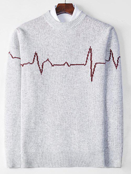 Electrocardiogram Pattern Pullover Knit Sweater - GRAY M