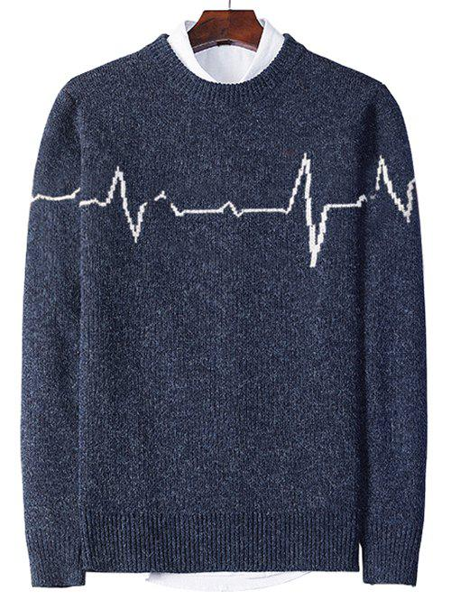 Electrocardiogram Pattern Pullover Knit Sweater - DEEP BLUE S
