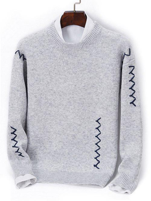 Contrast Zigzag Line Detail Knit Sweater, Gray