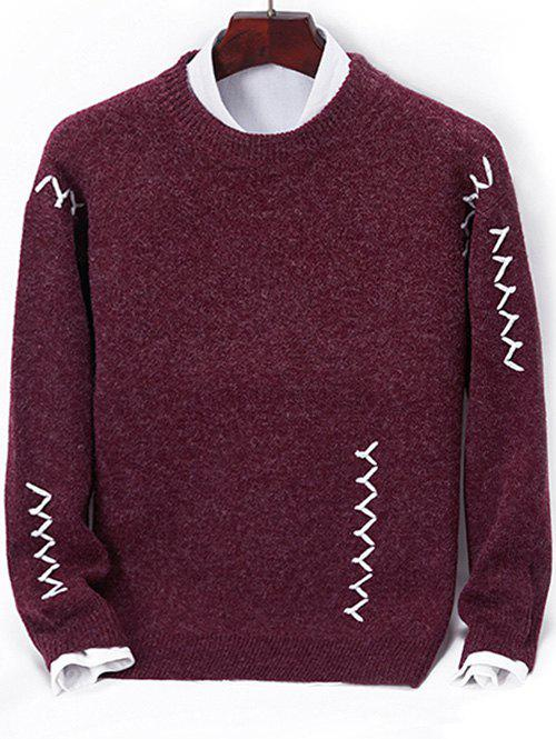 Contrast Zigzag Line Detail Knit Sweater, Red wine