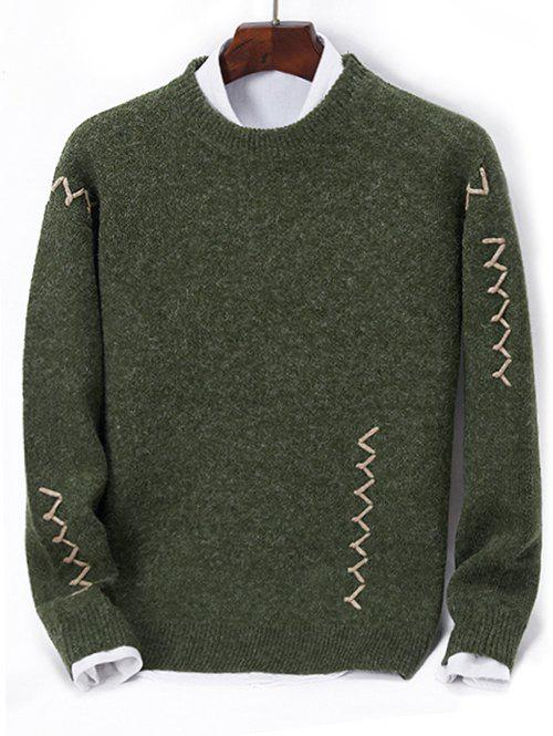 Contrast Zigzag Line Detail Knit Sweater, Dark forest green