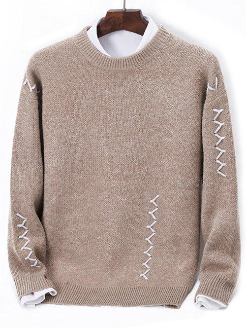 Contrast Zigzag Line Detail Knit Sweater, Light brown