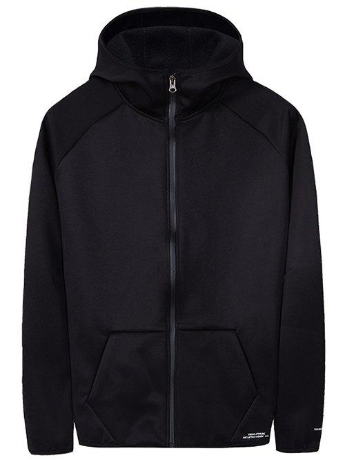 Solid Pocket Fleece Zipper Hooded Jacket - BLACK XS