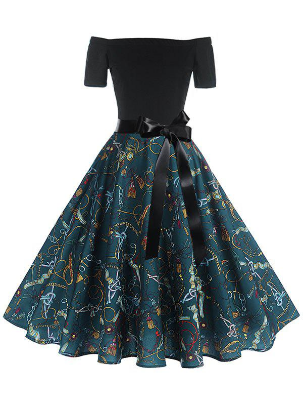 Belted Short Sleeve Printed Rockabilly Style Flare Dress - BLACK M