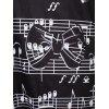 Plus Size One Shoulder Musical Notation Print Sweatshirt - BLACK 2X