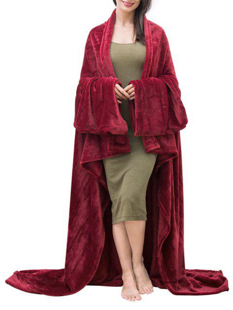 Fluffy Wearable Couch Blanket - RED WINE