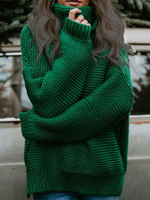 Loose Drop Shoulder Pullover Sweater - ARMY GREEN ONE SIZE