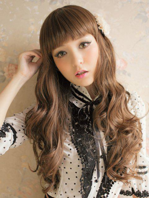 Long Full Bang Wavy Party Capless Synthetic Wig - LIGHT BROWN