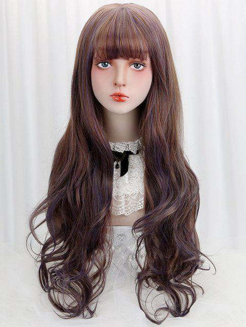 Full Bang Long Colormix Wavy Lolita Synthetic Wig - PLUM PURPLE