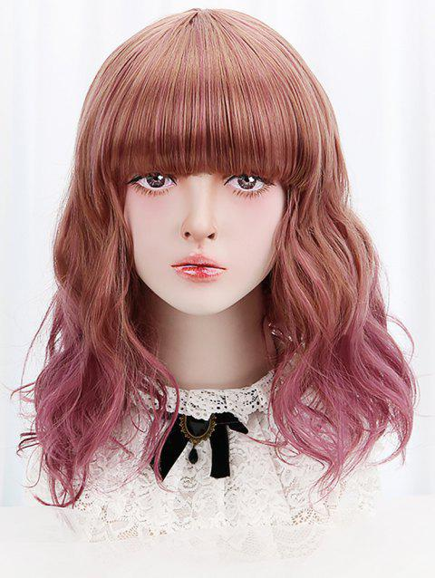 Medium Neat Bang Colormix Wavy Synthetic Lolita Wig - MEDIUM VIOLET RED