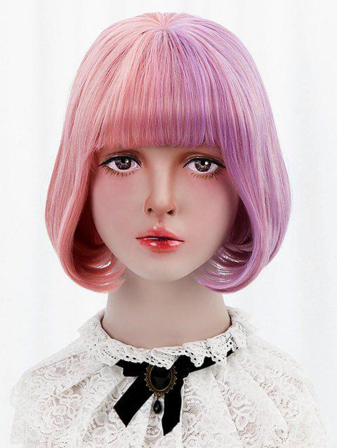 Short Full Bang Two Tone Straight Bob Lolita Wig with Two Ponytails - LIGHT PINK