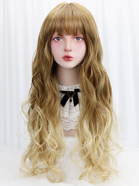 Long Full Bang Ombre Wavy Party Lolita Synthetic Wig - CHAMPAGNE GOLD
