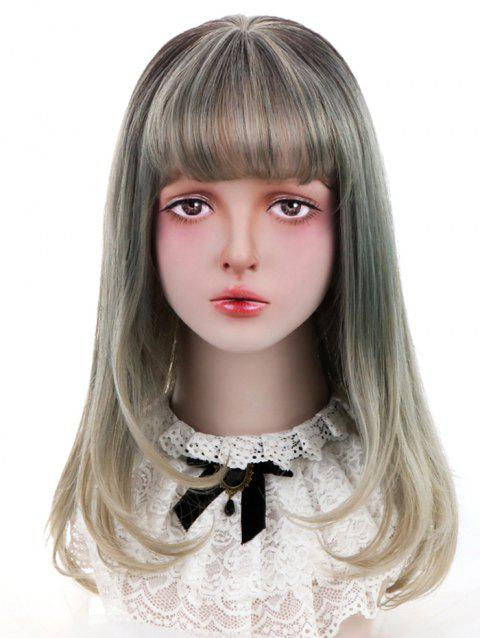 Synthetic Long See-through Bang Straight Colormix Lolita Wig - LIGHT KHAKI