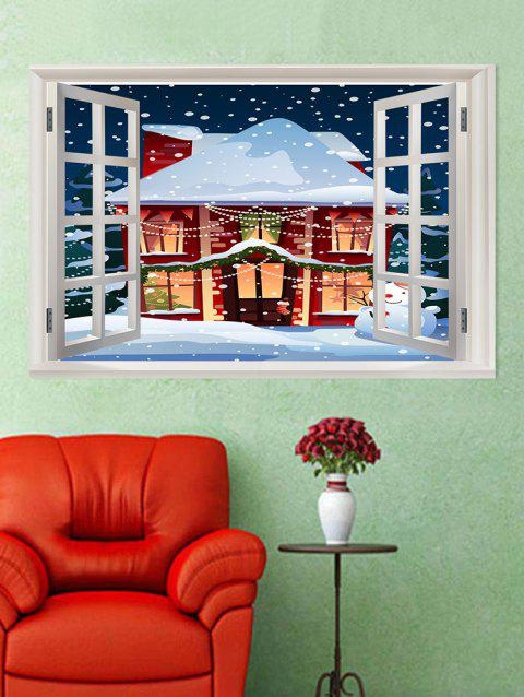 Window Christmas House Pattern Wall Art Sticker - multicolor W20 X L27.5 INCH