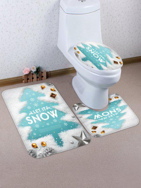 Christmas Tree Snowflake Pattern 3 Pcs Bathroom Toilet Mat - WHITE