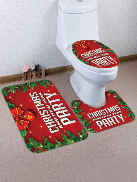 Christmas 3 Pcs Bathroom Toilet Mat - LAVA RED