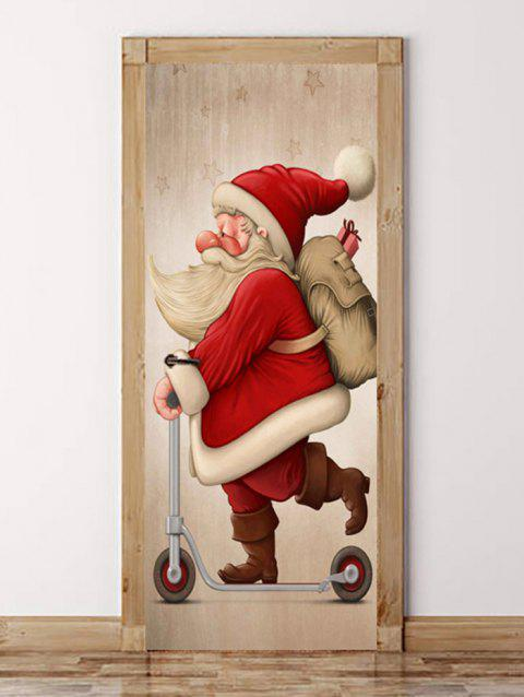 Cute Father Christmas Pattern Door Art Stickers - LAVA RED 2PCS X 15 X 79 INCH