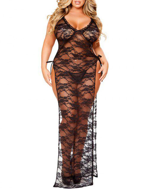 Plus Size See Through Lingerie Lace Dress - BLACK 3X