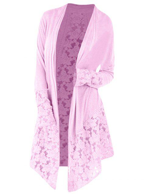 Lace Panel Plus Size Open Front Cardigan - PINK 1X
