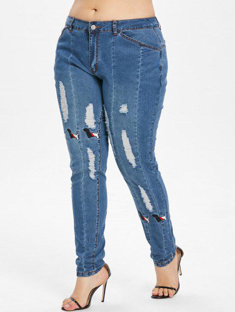 Plus Size Dog Embroidery Ripped Jeans - BABY BLUE L