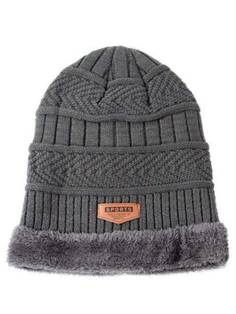 Winter Knitted Thick Ski Cap and Infinity Scarf - GRAY