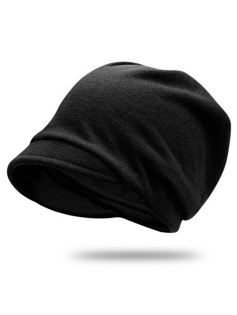 Solid Color Billed Slouchy Beanie - BLACK