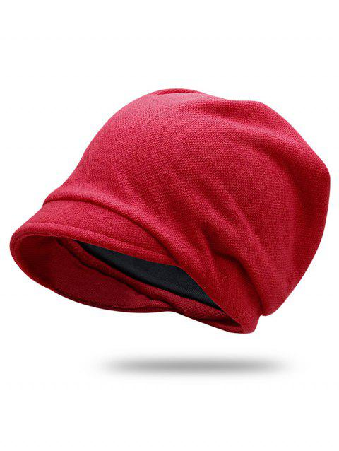Solid Color Billed Slouchy Beanie - RED