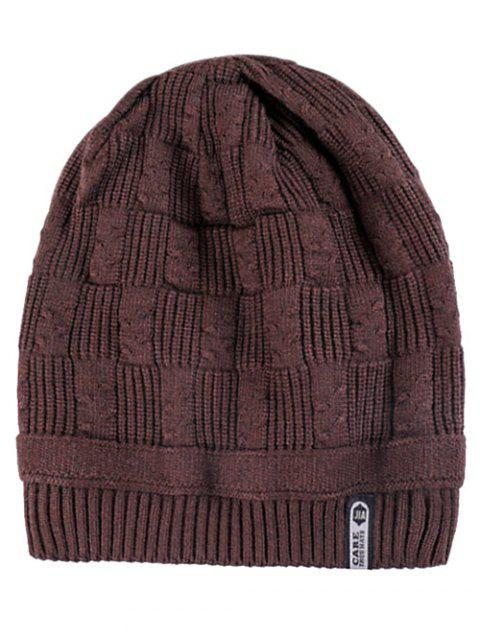 Letter Label Knitted Winter Beanie - COFFEE REGULAR