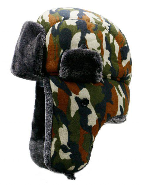 Outdoor Camouflage Print Windproof Trapper Hat - multicolor C