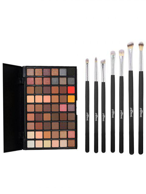 54 Colors High Pigment Eyeshadow Palette with 7 Pcs Eye Makeup Brush Set - 001