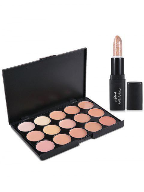 15 Colors Color Correcting Concealer Palette with Lip Exfoliator - 002