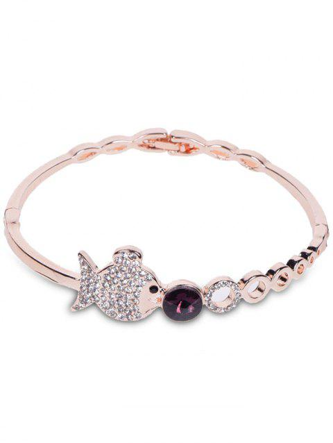 Fish Bubble Metal Rhinestone Bracelet - ROSE GOLD