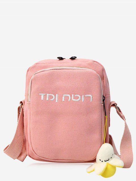 Embroidery Letter Mini Crossbody Bag - PINK