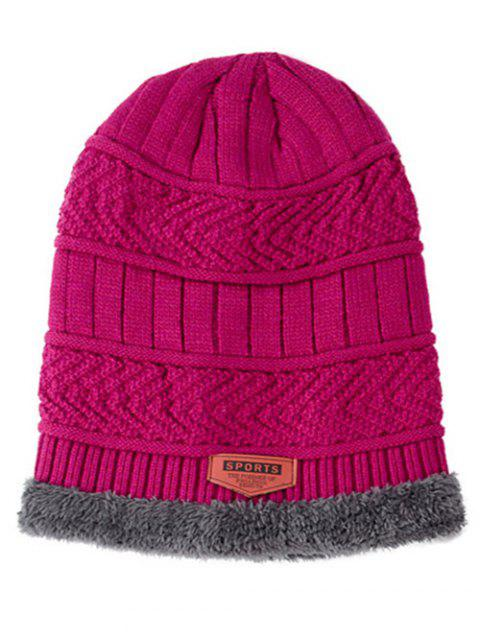 Winter Knitted Thick Ski Cap and Infinity Scarf - RED