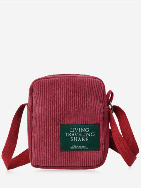 Letter Applique Corduroy Mini Backpack - RED