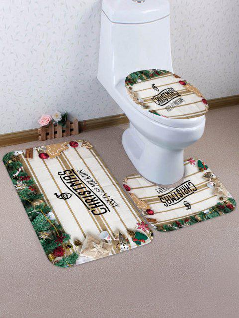 Christmas Tree Decorations Pattern 3 Pcs Toilet Mat Set - multicolor