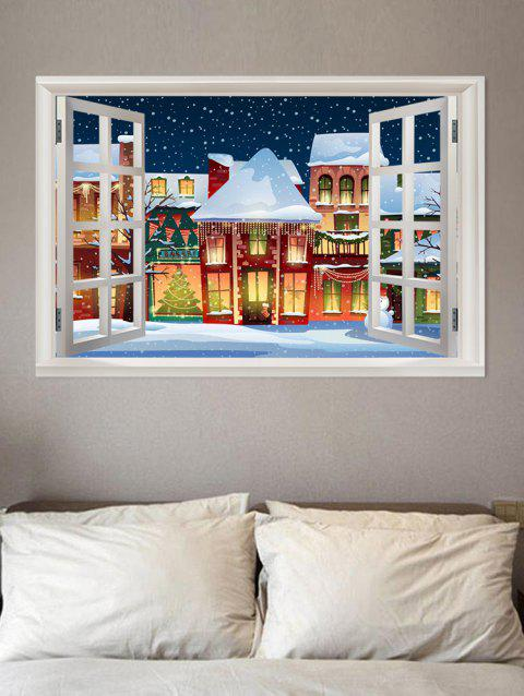 3D Window Christmas Theme Removable Wall Sticker - WHITE W20 X L27.5 INCH