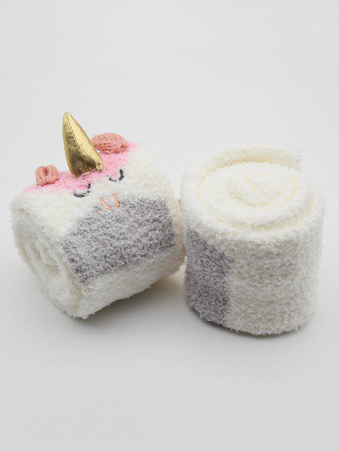 Unicorn Snowman Fuzzy Floor Socks - PINK